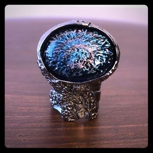 YSL Arty Ovale Gunmetal Ring with Blue Stone sz 7